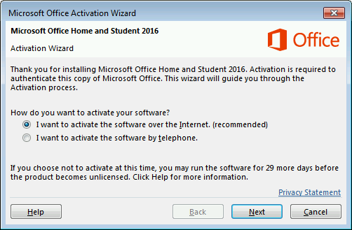 What are the steps to activate Microsoft office home and student 2019