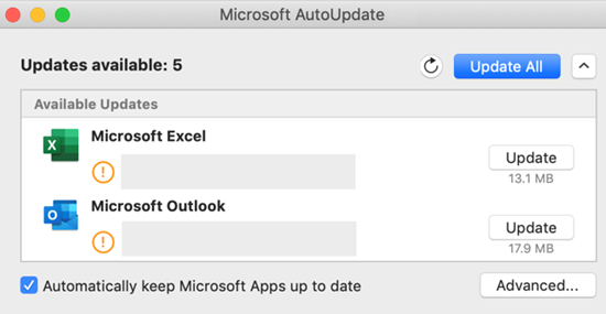 how to update microsoft office for mac automatically