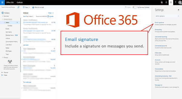 Office 365 for home now enables Outlook to sync email signatures