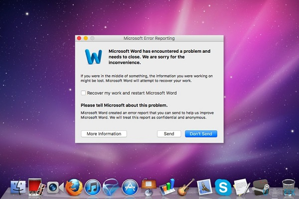 microsoft word for mac has encountered a problem and needs to close